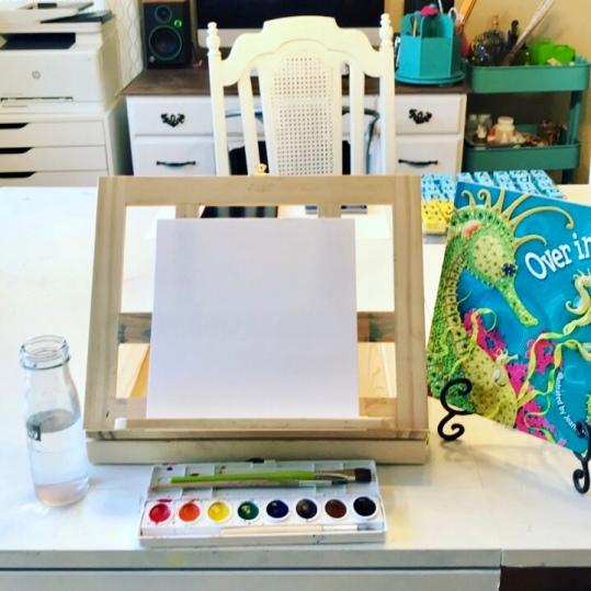 Watercoloring during read aloud