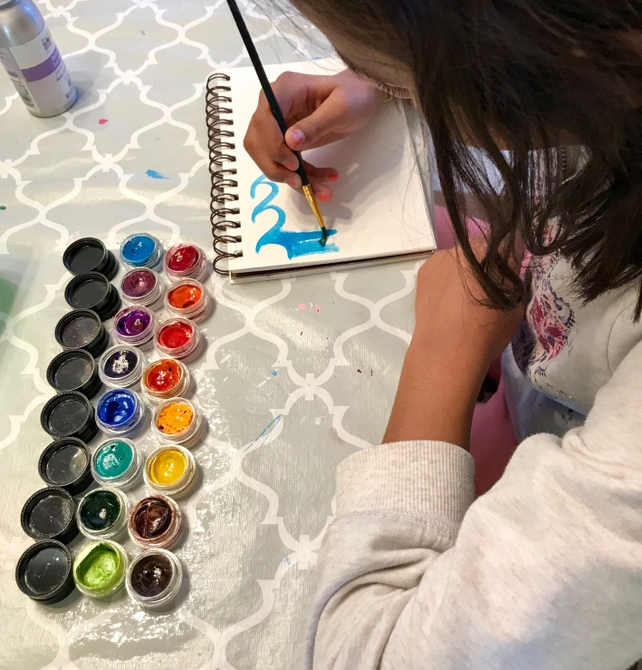 In the evening we experimented using the Twinkling watercolors with mica.